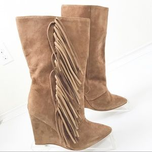 Anthropologie Shoes - Marabelle Suede Fringe Wedge Pointed Toe Boots